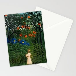 'Woman walking amid Tropical Blue Cornflowers in an exotic forest' by Henry Rousseau Stationery Cards