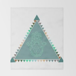 Merkaba Triangle Green Throw Blanket