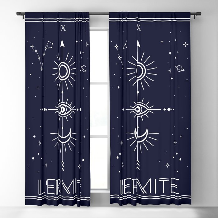 The Hermite or L'Ermite Tarot Blackout Curtain