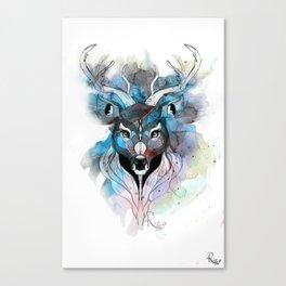 Deer- Blue Canvas Print