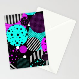 Circles, Bubbles And Stripes Stationery Cards