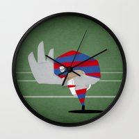 rugby Wall Clocks featuring Rugby by Osvaldo Casanova