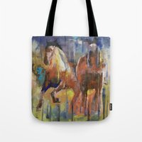 horses Tote Bags featuring Horses by Michael Creese