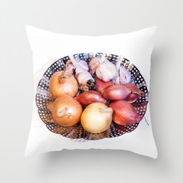 onion, shallot, garlic Throw Pillow