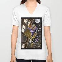 batgirl V-neck T-shirts featuring Batgirl  by Juliano Sousa
