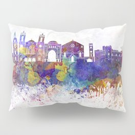 Rhodes skyline in watercolor background Pillow Sham