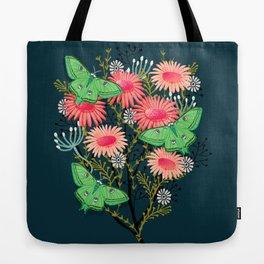 Luna Moth Florals by Andrea Lauren  Tote Bag