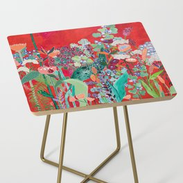Red floral Jungle Garden Botanical featuring Proteas, Reeds, Eucalyptus, Ferns and Birds of Paradise Side Table
