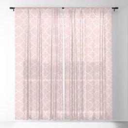 Classic Quatrefoil pattern, blush pink Sheer Curtain