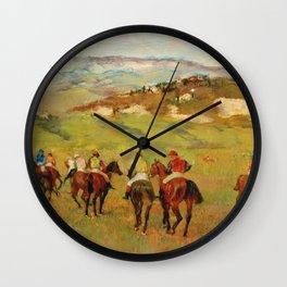 Edgar Degas - Jockeys On Horseback Before Distant Hills Wall Clock