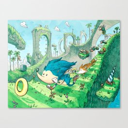Starring Sonic and Miles 'Tails' Prower (Blue Version) Canvas Print