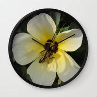 bee Wall Clocks featuring Bee by Lia Bernini
