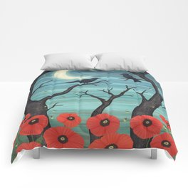 crows, fireflies, and poppies in the moonlight Comforters