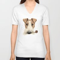 terrier V-neck T-shirts featuring fox terrier sailor by dogooder
