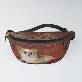 Cute chihuahua with roses Fanny Pack
