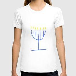 blue menorah,Hanukkah,jewish,jew,judaism,Festival ofLights,feast of Dedication,jerusalem,lampstand T-shirt