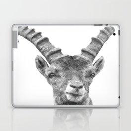 Black and white capricorn animal portrait Laptop & iPad Skin