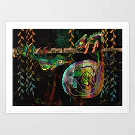 Colorful Chameleons Art Print