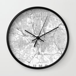 Columbus Map Line Wall Clock