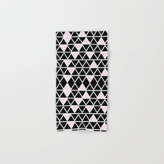Abstract geometric pattern- pink-black Hand & Bath Towel