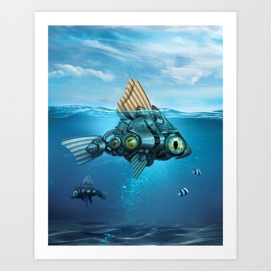 Steampunk Fish Art Print