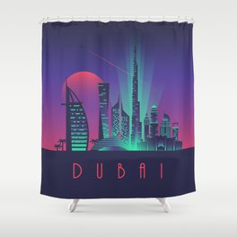 Dubai City Skyline Retro Art Deco Tourism - Night Shower Curtain