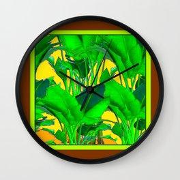 COFFEE BROWN TROPICAL GREEN & GOLD FOLIAGE ART Wall Clock