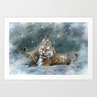 tigers Art Prints featuring Tigers by Julie Hoddinott