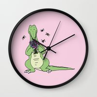 crocodile Wall Clocks featuring Crocodile by Meredith Mackworth-Praed