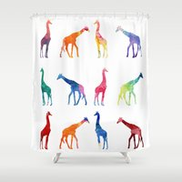 giraffes Shower Curtains featuring Giraffes by emegi