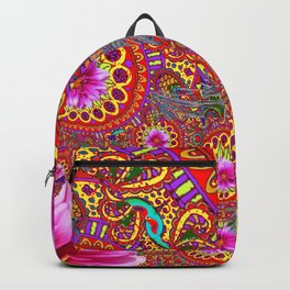 BOHEMIAN  FUCHSIA FLORALS  IN RED-YELLOW COLOR ART Backpack
