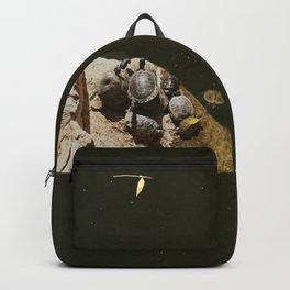 Crowded beach Turtles sunbathing Backpack