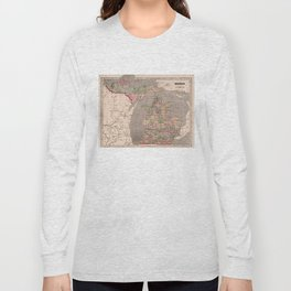 Vintage Map of Michigan (1844) Long Sleeve T-shirt