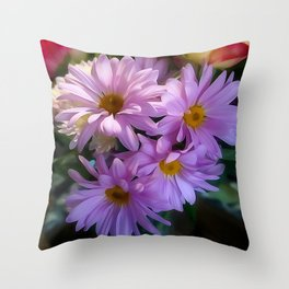 Purple Shasta Daisy Throw Pillow