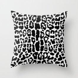 Panther Faux Fur Black & White Throw Pillow