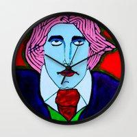 oscar wilde Wall Clocks featuring Oscar Wilde by Pluto00Art / Robin Brennan