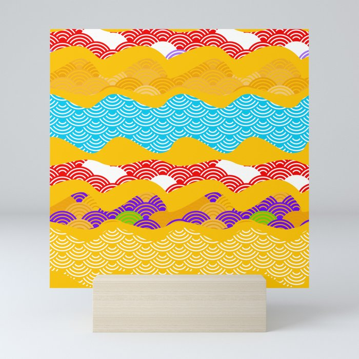 Summer bright pattern  scales simple Nature background with Chinese wave circle pattern Mini Art Print
