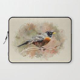 American Robin Watercolor Art Laptop Sleeve