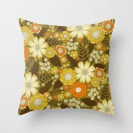 1970s Retro/Vintage Floral Pattern Throw Pillow