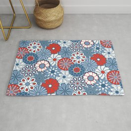 Cute Mid Century Modern Flowers - Red, White and Blue Rug