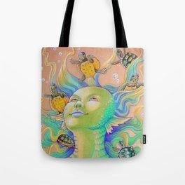 Mermaid With Baby Turtles Drawing Tote Bag