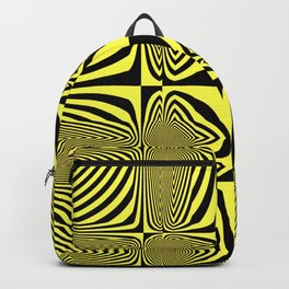 Geometric aboriginal black yellow zebra design pattern of converging lines shapes squares Backpack