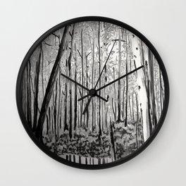 B&W Trees Wall Clock
