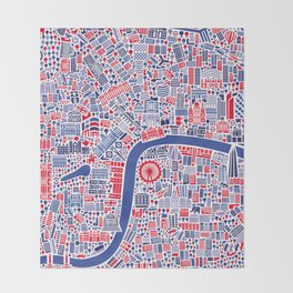 London City Map Poster Throw Blanket