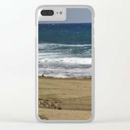 Boy contemplating the endless waves - Beach PR Clear iPhone Case