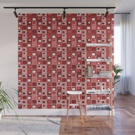 Retro Mid Century Modern Salmon Red Square Pattern Wall Mural