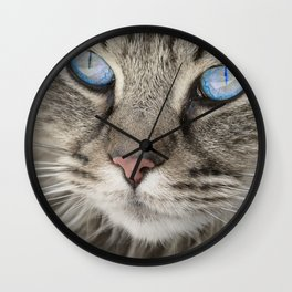 Grey Cat Wall Clock