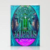 zodiac Stationery Cards featuring Aquarius Zodiac by CAP Artwork & Design