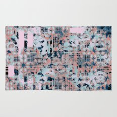 Pink and Blue Modern Geometric and Animal Print Pattern Rug