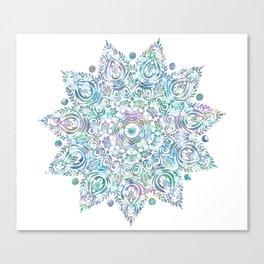 Mermaid Dreams Mandala on White Canvas Print